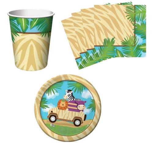 Safari Adventure Jungle Birthday Party Supplies Set Plates Napkins Cups Kit for 16