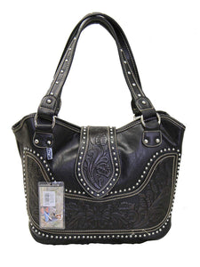 Ladies Concealed Gun Handbag Tooled Genuine Leather Black