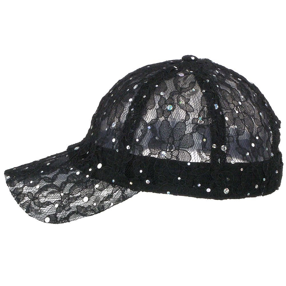 Women's Lace Sequin Casual Bling UV Protection Vented Baseball Cap