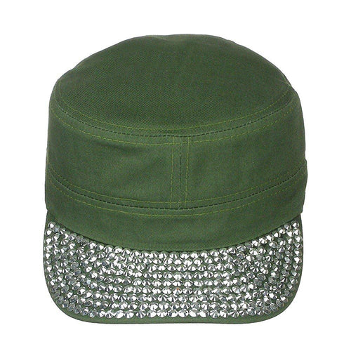 Women's Jewel Visor Bling Military Style Cadet Cap One Size