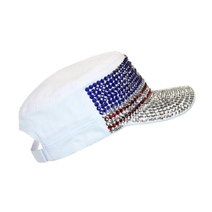 USA Bling Military Cap, Sparkle Rhinestone American Flag Hat, Adjustable Size