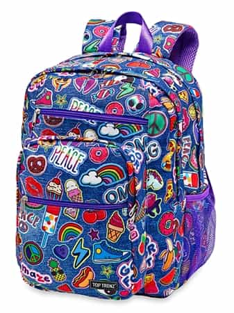 Emoji Backpack Denim Patch Print - 5 Zipper