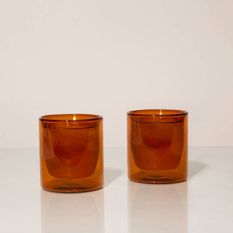 Amber Double Wall Glass Tumbler Set by Yield