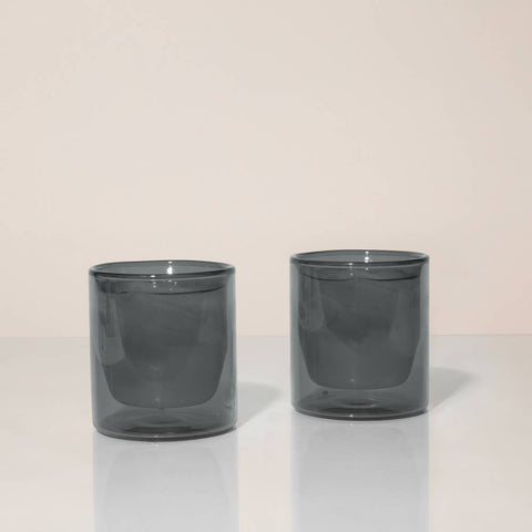 Gray Double Wall Glass Tumbler Set by Yield