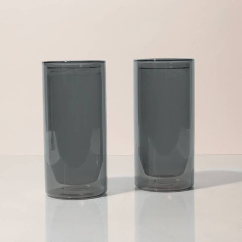 Gray Double Wall 16 oz Glass Set by Yield
