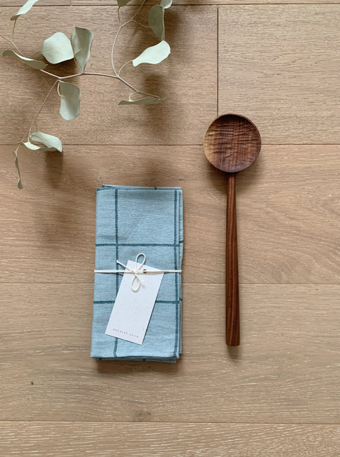 The Table for Two Bundle - Marfa Napkins by Kesslyr Dean and Walnut Cooking Spoon by Four Leaf Wood Shop | H. SMITH