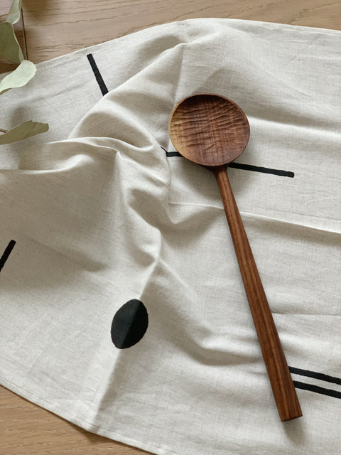 The Table for Two Bundle - Line Dot Napkins by Kesslyr Dean and Walnut Cooking Spoon by Four Leaf Wood Shop | H. SMITH