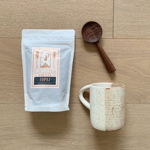 The Coffee Drinker Bundle - Sand Mug, Topaz Coffee, Walnut Coffee Scoop
