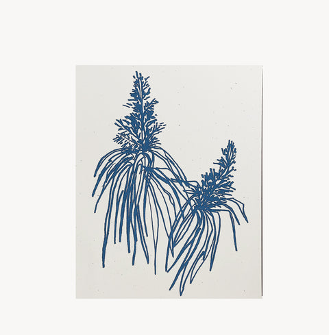 Blue Botanical Art Print by Wilde House Paper