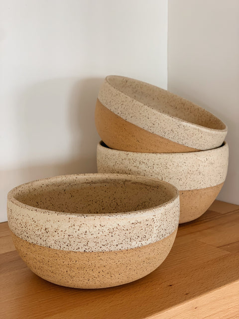 Creamy Speckle Bowls by Hannah Garvin