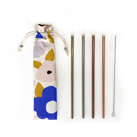 Reusable Stainless Steel Straw Set - Blossom Print  by Hali Hali