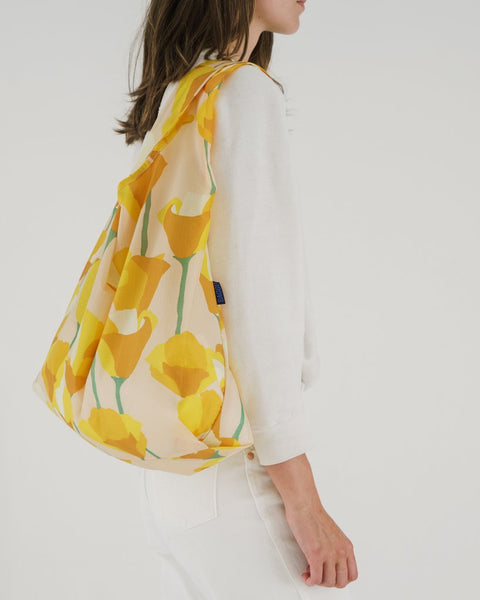 Golden Poppy Print Baggu Reusable Bag