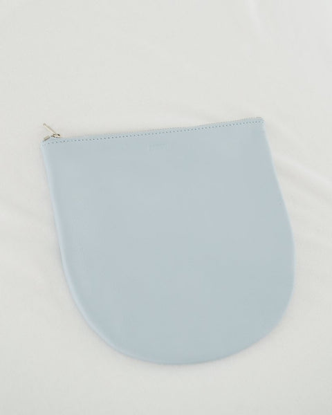 Soft Blue Large U Leather Pouch by Baggu