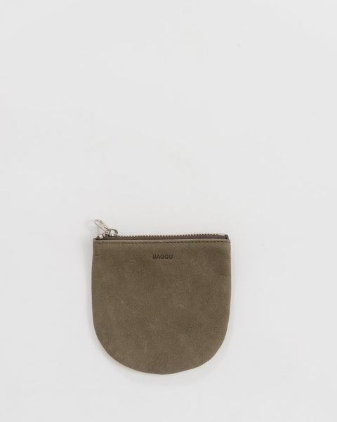 Taupe Nubuck Suede Small U Pouch by Baggu