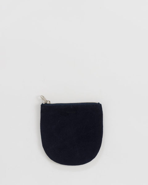 Midnight Suede Small U Zipper Pouch