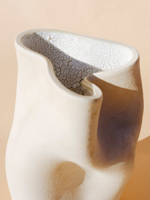 Crackle Inside of Caverns Vase by Salamat Ceramics