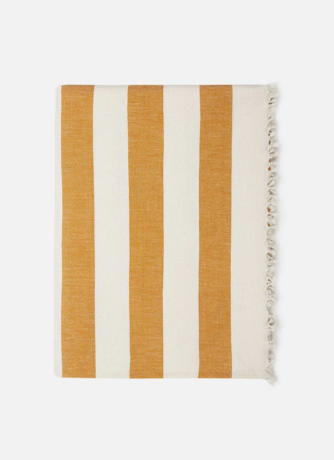Milos Goldenrod Striped Tablecloth by Heather Taylor Home