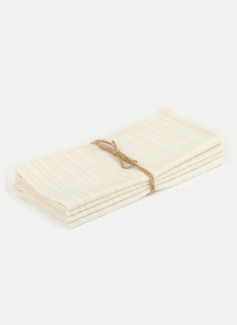 Multi Stripe Blanc Napkin Set by Heather Taylor Home