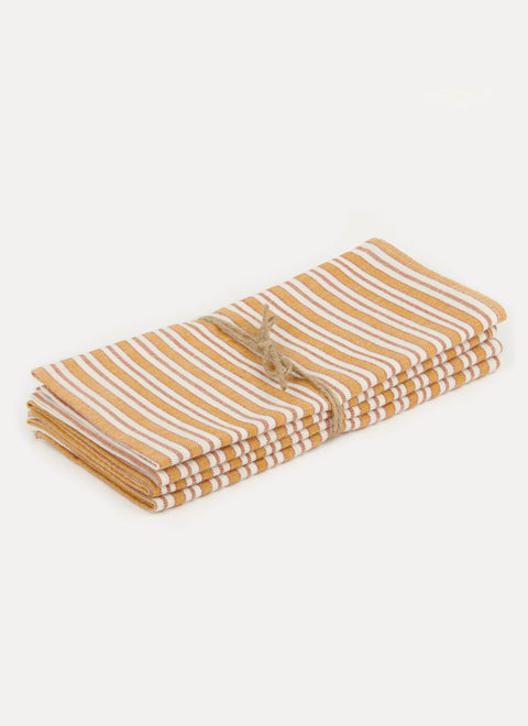 Multi Stripe Goldenrod Napkin Set by Heather Taylor Home