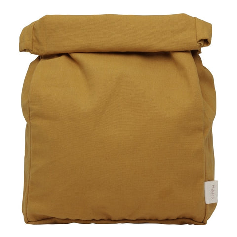 Mustard Reusable Roll Top Lunch Bag by Haps Nordic