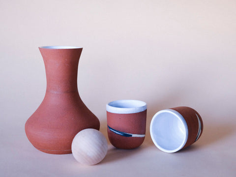 Narrows Carafe and tumblers by Salamat Ceramics