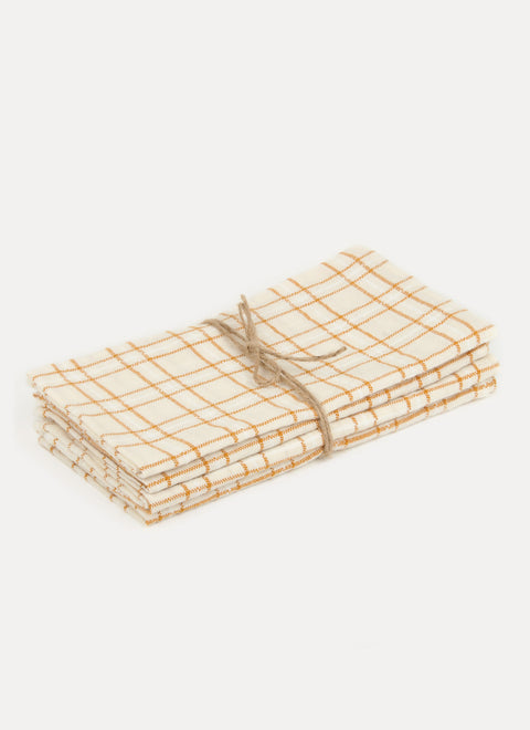 Open Plaid Goldenrod Napkin Set by Heather Taylor Home