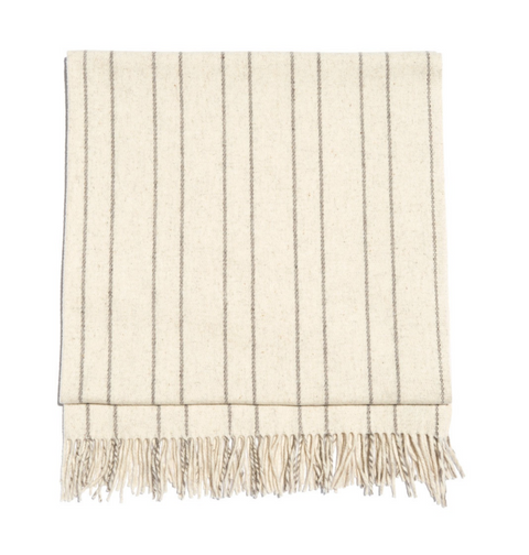 Cream/Grey Thin Striped Flaca Blanket by Mexchic | H. SMITH