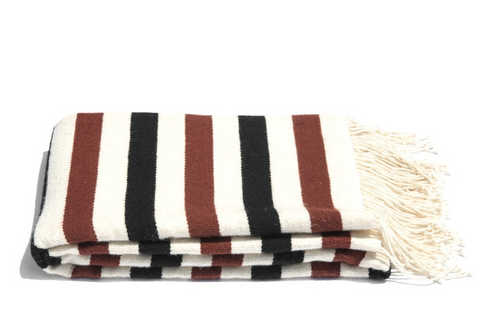Cream, Rust & Black Striped Pampa Blanket by Mexchic | H. SMITH