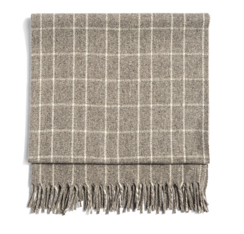 Grey/Cream Plaid Polanco Girls Blanket by Mexchic | H. SMITH