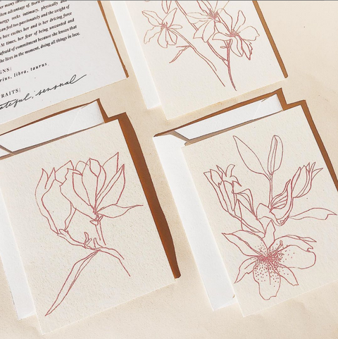 Flora Note Cards by Wilde House Paper