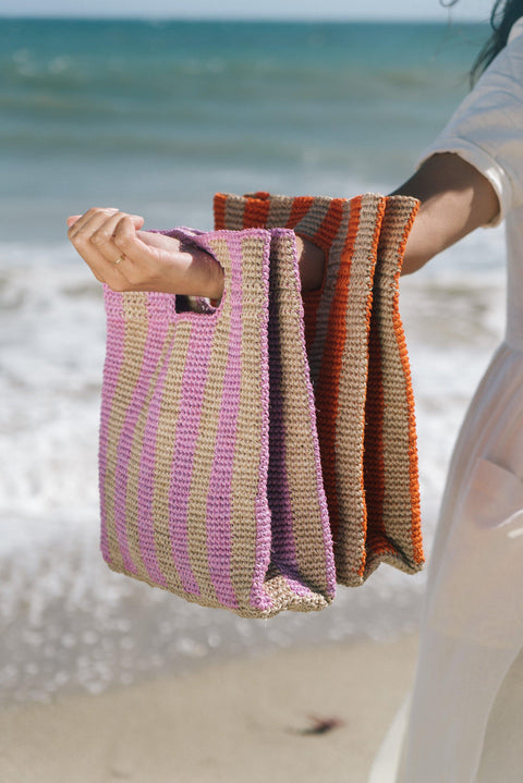 Lilac Stripe Provence Handbag by Someware Goods