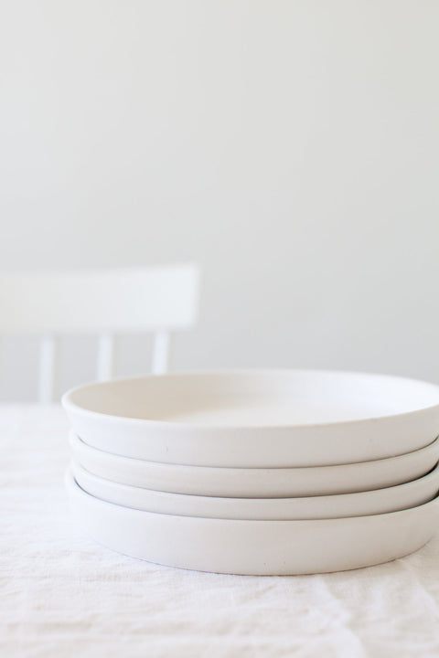 White Glazed Salad Plate by Notary Ceramics