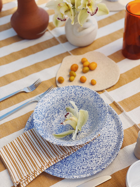 Tephra Blue Splatter Plate and Bowl by Salamat Ceramics