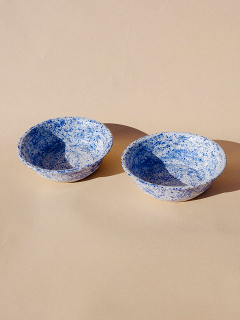 Tephra Blue Splatter Bowls by Salamat Ceramics
