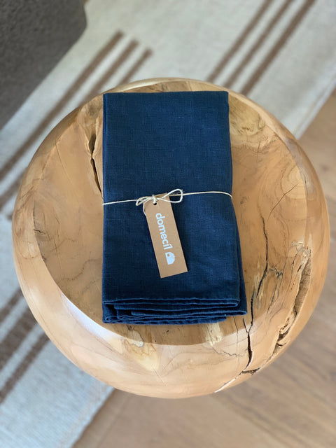Blue Linen Napkin Set by Domecil