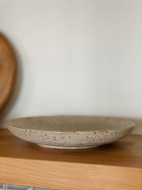 Creamy Speckle Shallow Bowl by Hannah Garvin