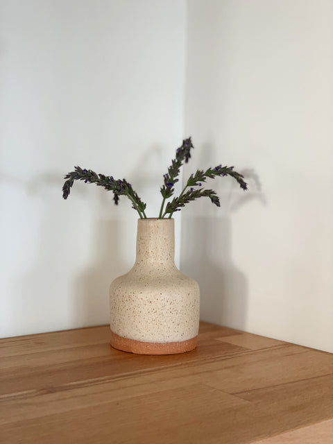Creamy Speckle Bud Vase by Hannah Garvin