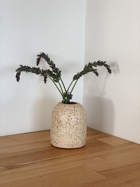 Creamy Speckle Arched Bud Vase by Hannah Garvin