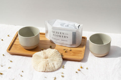 Kinto Ceramic Tea Cups with Bamboo Tray