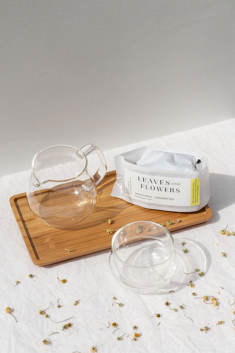 Kinto Glass Teapot, Cup, and Tray with Leaves and Flowers Tea