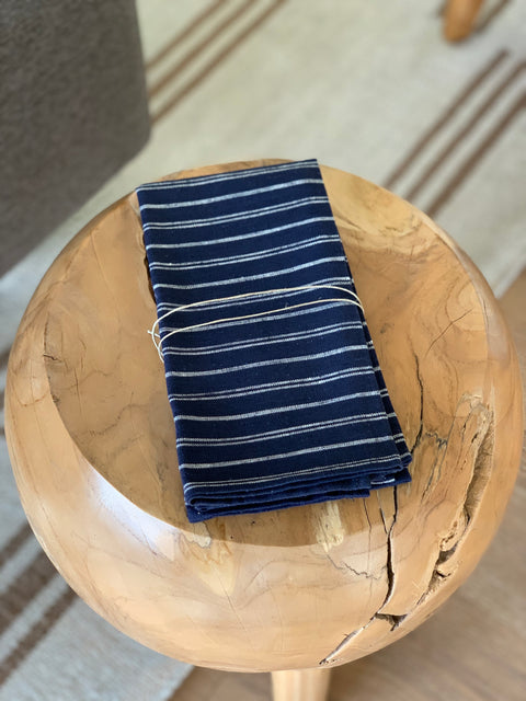 Blue Stripe Linen Napkin Set by Domecil