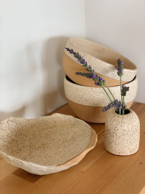 Creamy Speckle Ceramics by Hannah Garvin