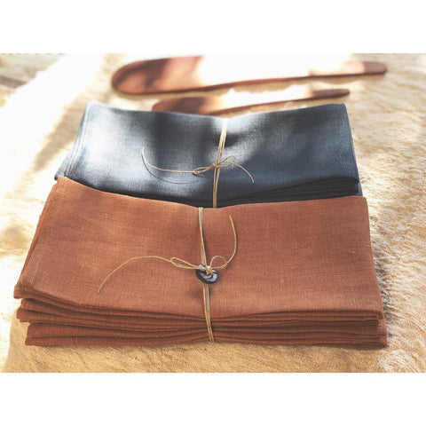 Cinnamon and Blue Linen Napkins by Domecil