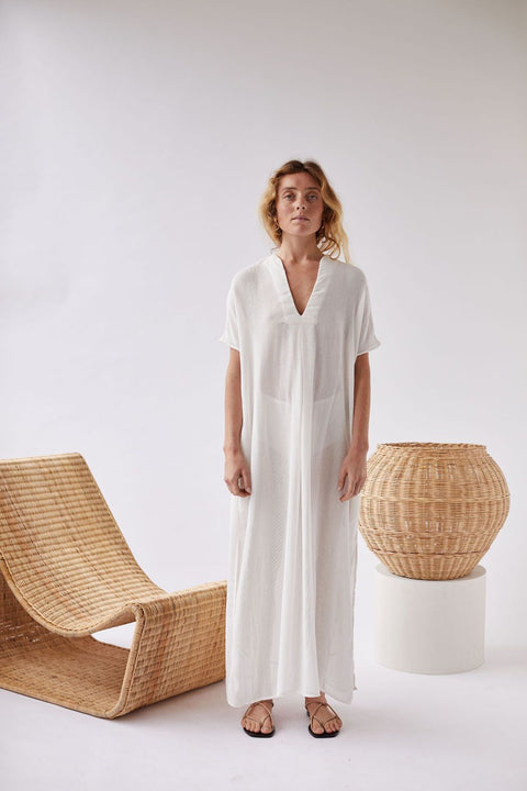 Cream Maxi Kaftan Dress by WORN