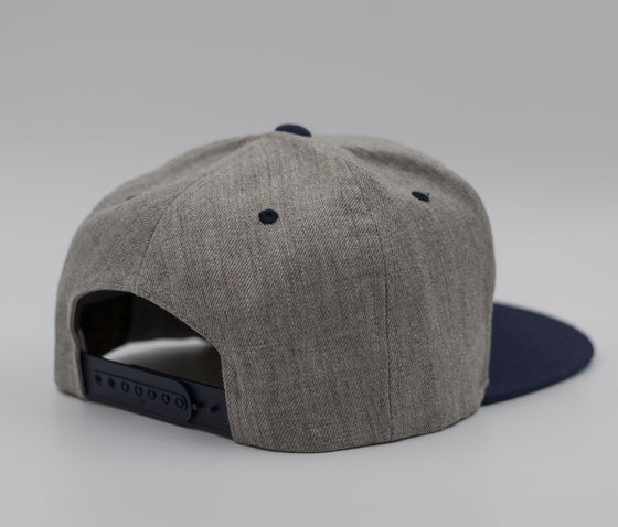 Heather Grey, Navy & White