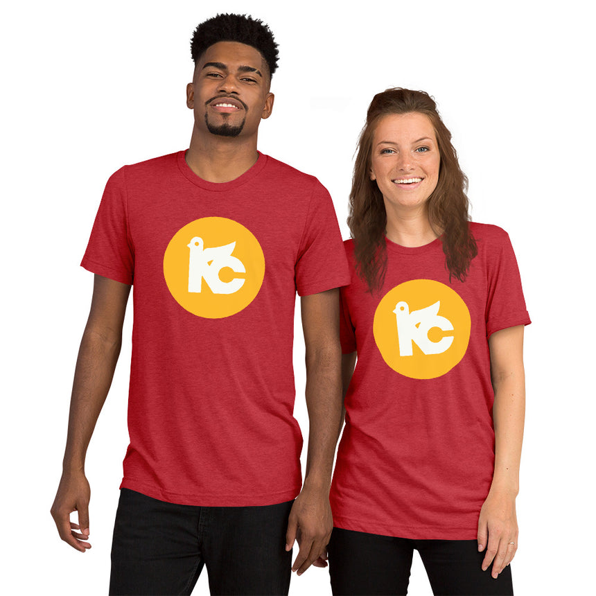 KC Vintage Dove Tri-blend Tee (Red & Yellow)