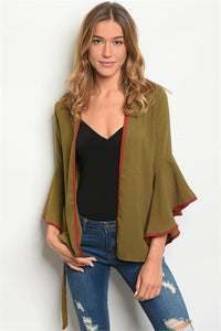 EARTH OLIVE SILKY CARDIGAN