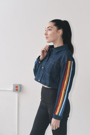 CROPPED DENIM JACKET WITH COLOR-BLOCKING