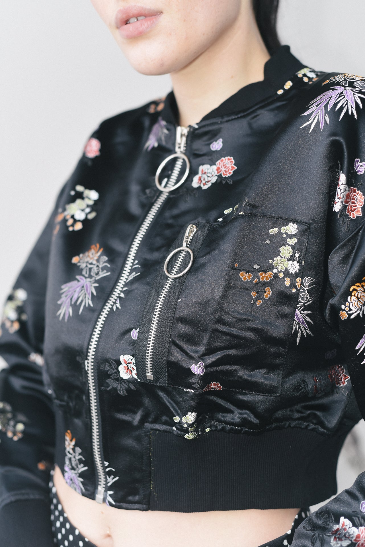 SATIN BOMBER JACKET WITH FLORAL PRINT