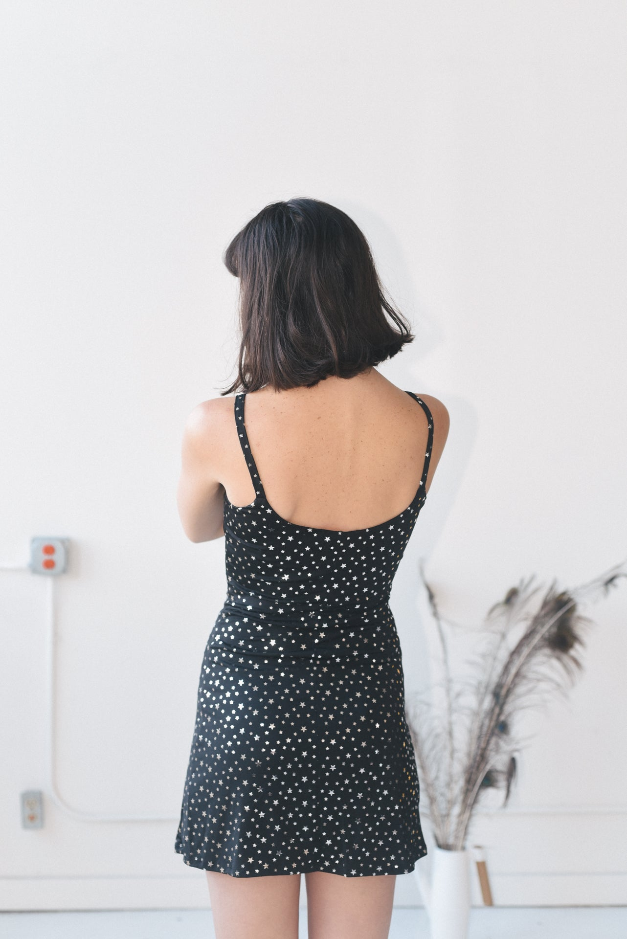 STAR PATTERN SPAGHETTI STRAP DRESS